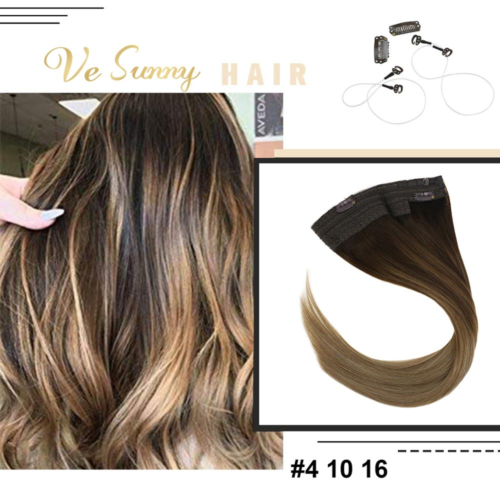 VeSunny Invisible Halo Hair Extensions 100% Real Human Hair Flip Wire with 2 Clips Balayage Ombre Brown mix Dark Blonde #4/10/16