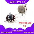 5 шт. WTH118 2 Вт 1A потенциометр 1 к ом WTH118-2W круглый вал углеродный поворотный конический потенциометр