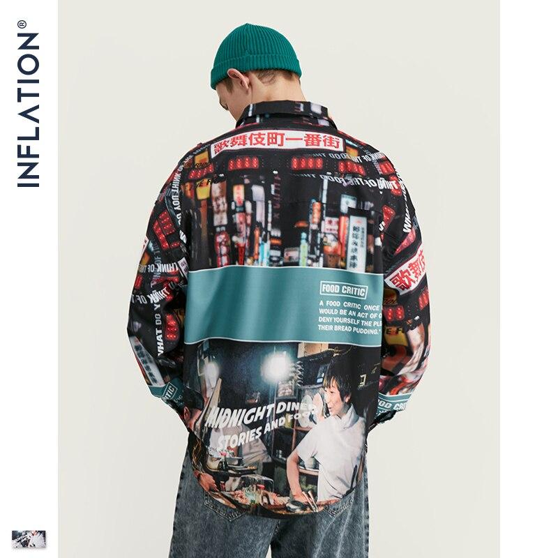 Image 4 - INFLATION Loose Fit Men Shirt 2019 FW Harajuku Digital Printing  Men Shirts Long Sleeve Hip Hop Oversized Men Tops Shirt  92156WCasual  Shirts