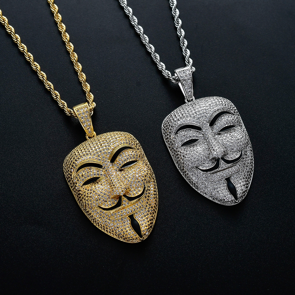 Movie V-vendetta with The Same Male <font><b>Avatar</b></font> <font><b>Mask</b></font> Pendant Full of Zircon Jewelry Hip-hop Necklace Accessories Pendant Necklace image