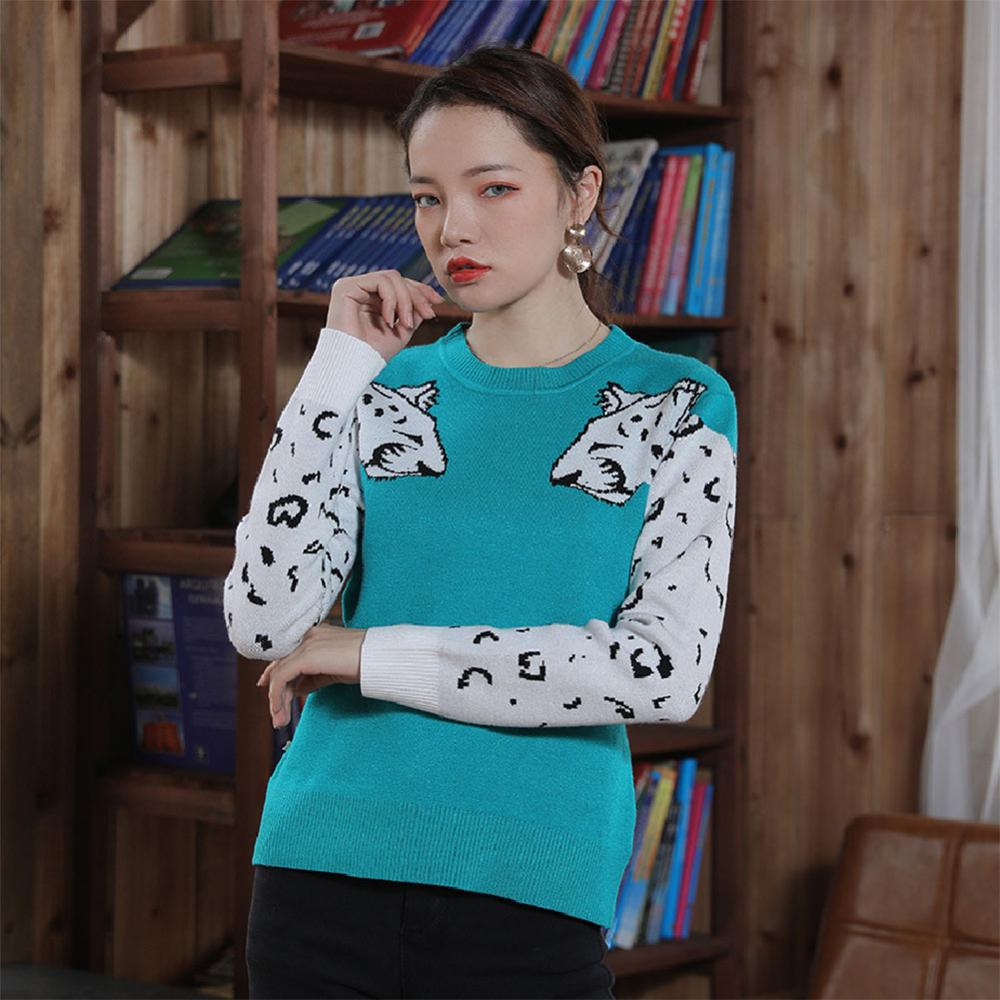 Women's Leopard Pattern Knitted Sweater Pullovers Autumn Cropped Top Sweater For Female 2019 Winter Loose Jumper Ladies Sweaters