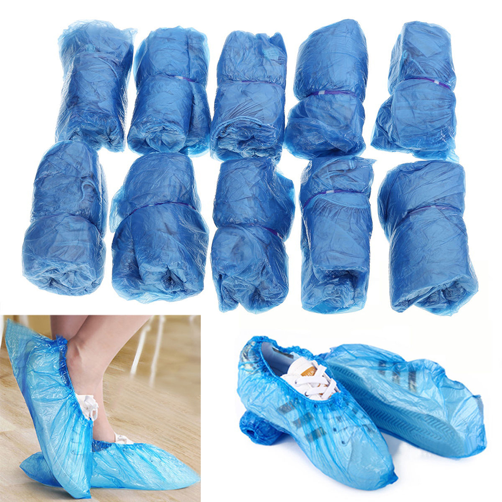 100pc/lot Hospital Overshoes Disposable Shoe Covers Boot Covers Shoe Care Kits Floor Protector Plastic Rain Waterproof Overshoes
