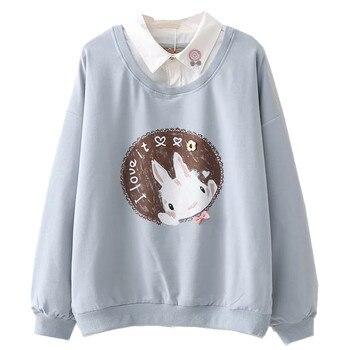 Cute Anime Hoodies Teens Girl Kawaii Rabbit Women's Sweatshirt Soft Long Sleeve Blue Bunny Sweetshirt Green Pink Pullovers White winter japanese girls cute hoodies lolita cute cartoon rabbit sweatshirt female wool overcoat kawaii bunny oversized cloak pink