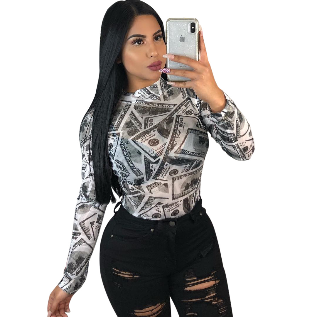 Dashiki African Clothes New Women T Shirts Funny Printed US Dollars Money Tops Tee Shirts Plus Size Long Sleeve T Shirts Streetw