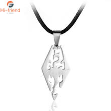 Hot Fashion Game Skyrim The Elder Scrolls Pendant Necklace Personality Dragon Stainless Steel Pendant Jewelry
