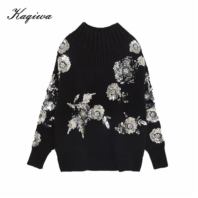 Autumn And Winter 2020 New Women's Korean Loose Fit Pullover High Neck Knitwear Heavy Duty Bright Flake Flower Black Sweater