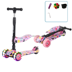 3 In 1 Kid Adjustable Kick Scooter Foldable Seat Flashing 3 wheels Step Scooters Children City Roller Skateboard Gifts For Kids(China)