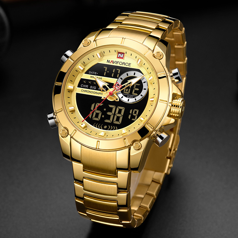 Image 5 - Naviforce Luxury Male Watch with Luminous Dial Digital Quartz Top Brand Man Watches 2019 Brand Luxury Men's Watch Dual Display-in Quartz Watches from Watches