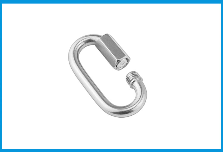 Stainless Steel Oval Quick Link Chain Fastener Marine Hook Carabiner 6mm 8mm