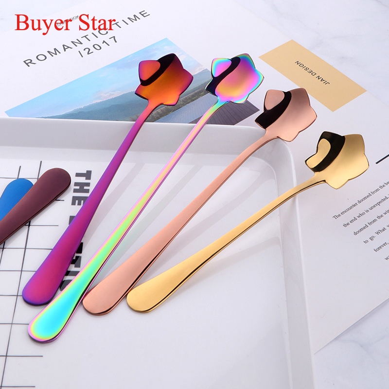 3PCS Creative Tea / Coffee Spoons Set 304 Acero inoxidable Rose Gold Gift Cake Agitación Azúcar Postre Cucharilla Niños Bebida Vajilla