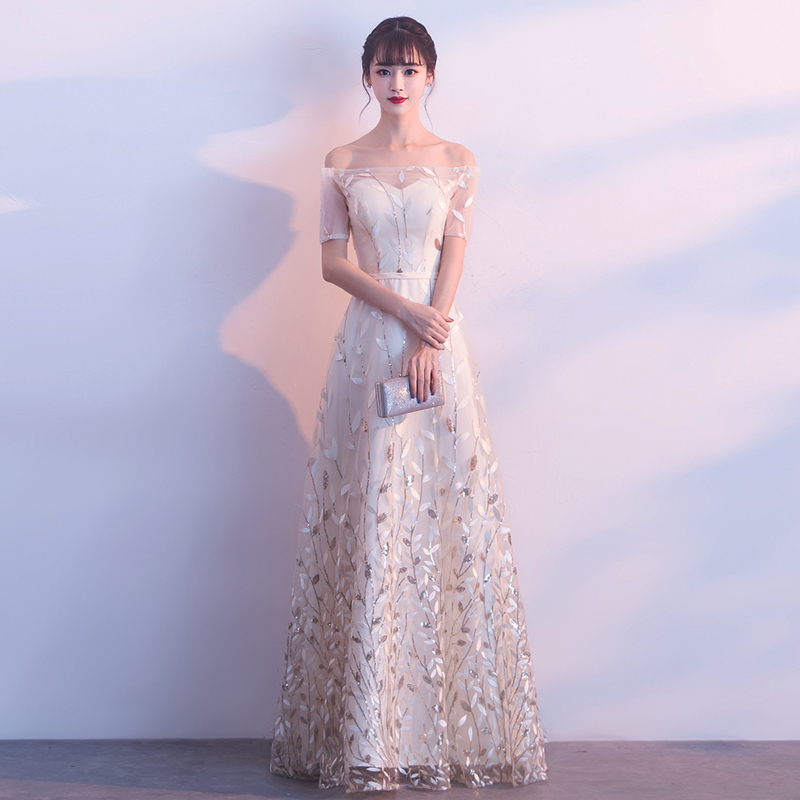 Evening Dress 2020 Champagne Tulle Embroidery Long Formal Gown Elegant Off the Shoulder Short Sleeve Robe de Soiree