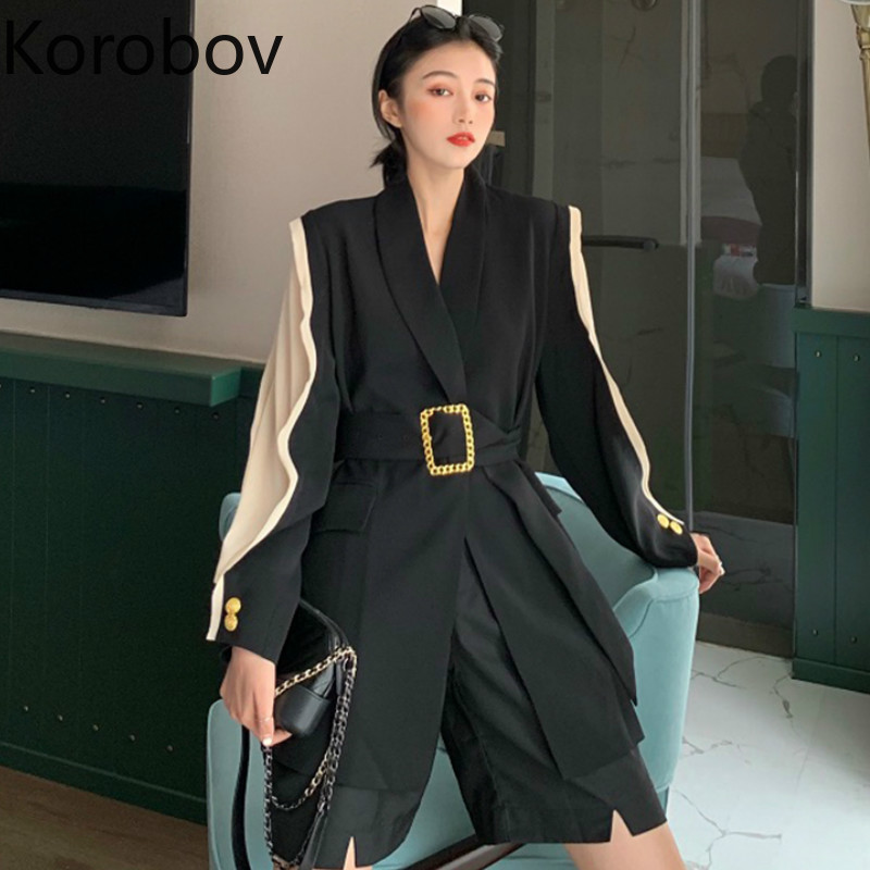 Korobov Women Hit Color Patchwork Long Sleeve Blazer New Sashes Loose Casual Blazers Elegant OL Pockets Female Coat 78944