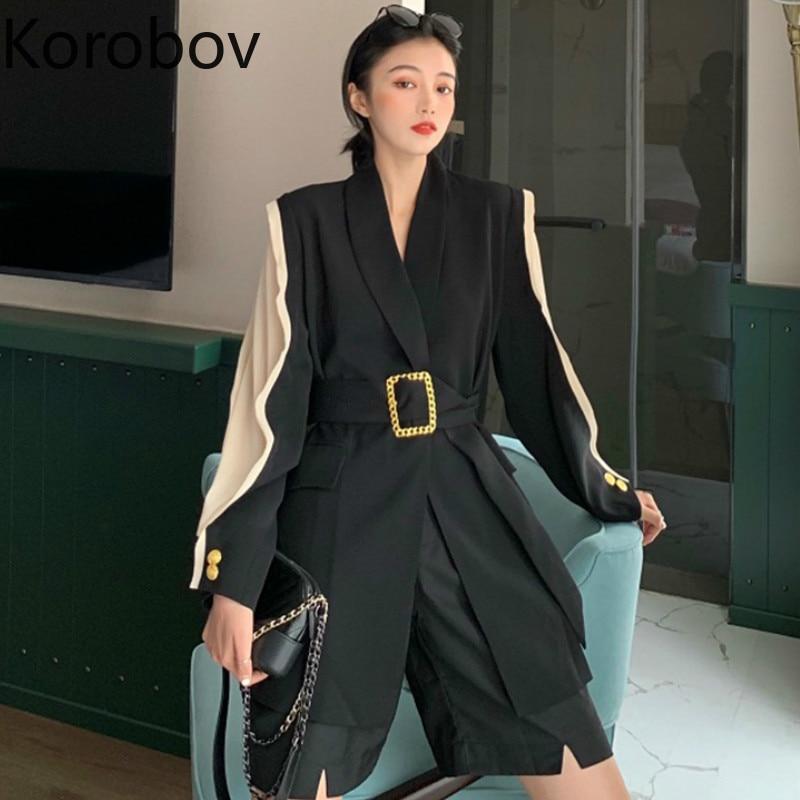 Korobov Women Hit Color Patchwork Long Sleeve Blazer New Sashes Loose Casual Blazers Elegant OL Pockets Female Coat 78944