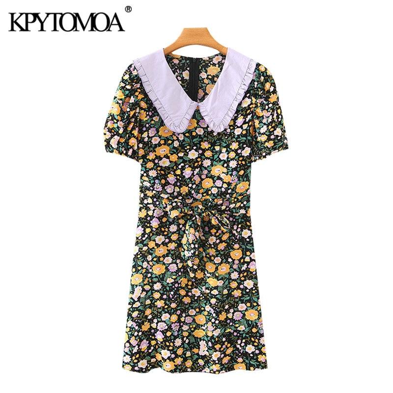KPYTOMOA Women 2020 Chic Fashion With Belt Floral Print Mini Dress Vintage Peter pan Collar Short Sleeve Female Dresses Mujer