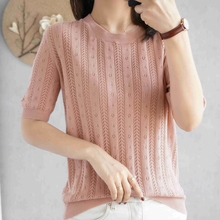 100%  cotton short-sleeved women's T-shirt short section loose hollow knitted cotton sweater summer new O-neck pullover sweater