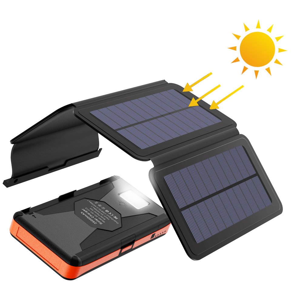 Rugged Solar Power Bank 25000mAh Solar External Battery Charger Waterproof Detachable Solar Panels High Efficiency Powerbank.-in Power Bank from Cellphones & Telecommunications
