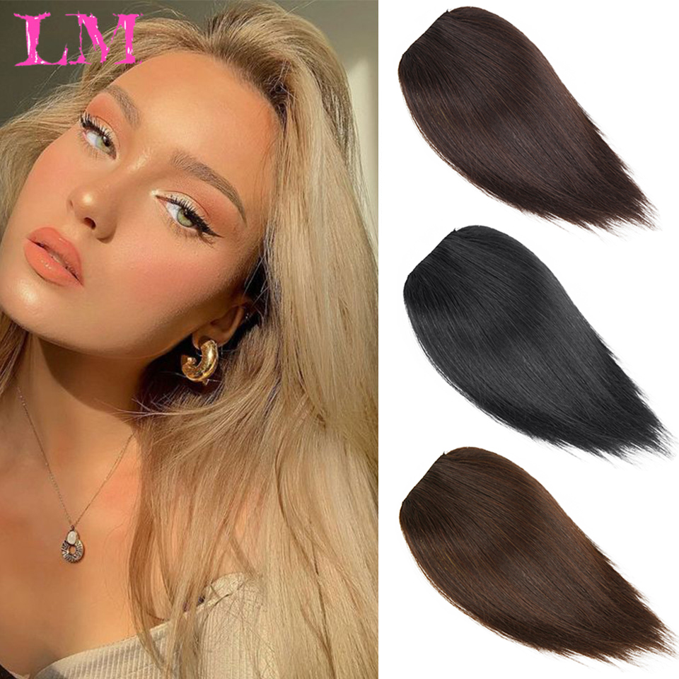 LM Hair Pads board Seamless Top Ivisiblity Piece Thickened Hair Root Pad Highsynthetic Straight Hair