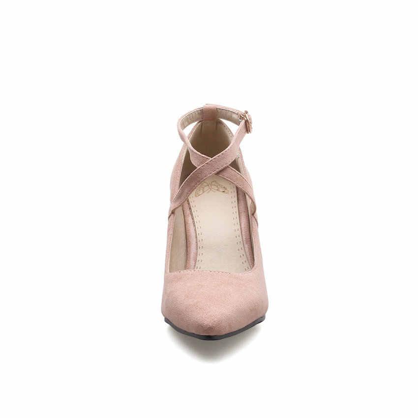 ESVEVA 2018 kobiety pompy klamra wiązane na krzyż szpiczasty nosek drzwi kwadratowe wysokie obcasy eleganckie pompy stado damskie buty rozmiar 34-39