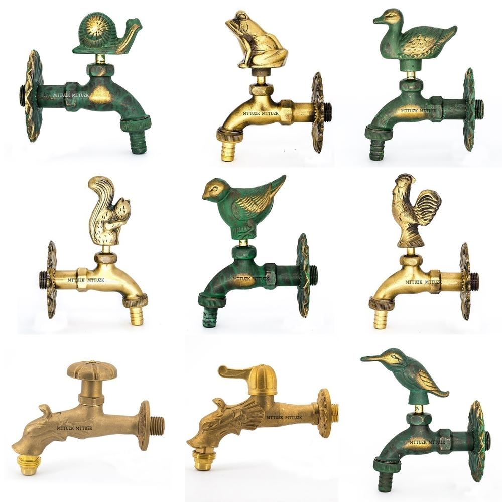 Outdoor Decorativ Garden Faucet Animal Shape Bibcock Green/Antique Brass Tap For Washing Mop/Garden Watering Animal Faucet