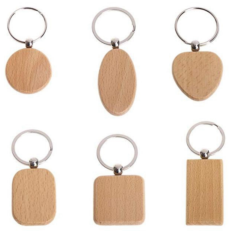 HOT-20 Pcs Blank Wood Wooden Keychain Diy Custom Wood Key Chains Key Tags Anti Lost Wood Accessories Gifts (Mixed Design)