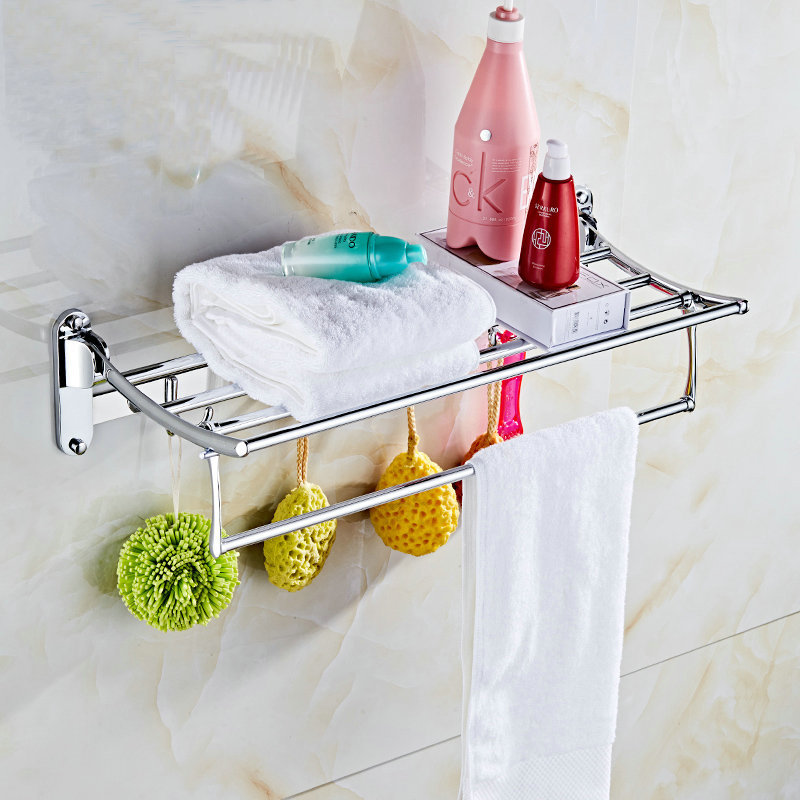 Bathroom Towel Rack Bathroom Stainless Steel Folding Towel Rack Hardware Wall Pendant Toilet 2-Layer Storage Shelf