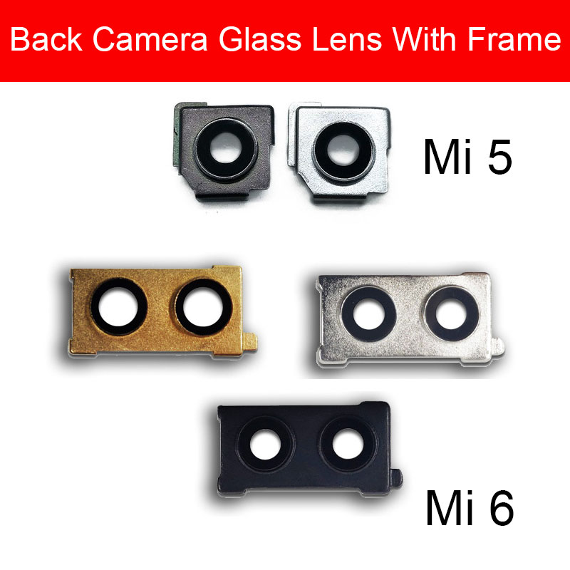 Rear Back <font><b>Camera</b></font> Lens Glass Cover Frame For <font><b>Xiaomi</b></font> <font><b>Mi</b></font> <font><b>5</b></font> 6 Main Big <font><b>Camera</b></font> Cover Frame + Sticker Repair Replacement Parts image