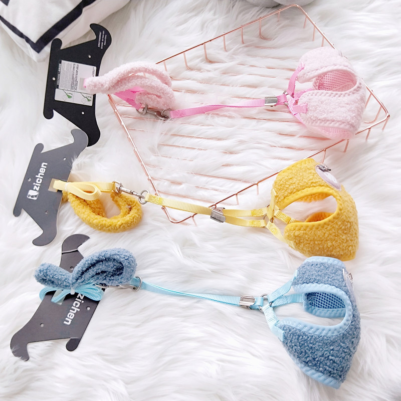 Cute Velvet Small Hand Holding Rope Harness-Pet Dog Cat Traction Dog Universal Traction Chinlon Dog Autumn And Winter