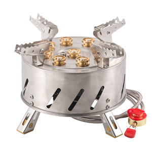 12800W Outdoor Camping Stove Self-Driving Tour Stainless Steel 9-Head Gas Stove Folding 9 Hole Fire Brimstone Stoves Burner 캠핑용품
