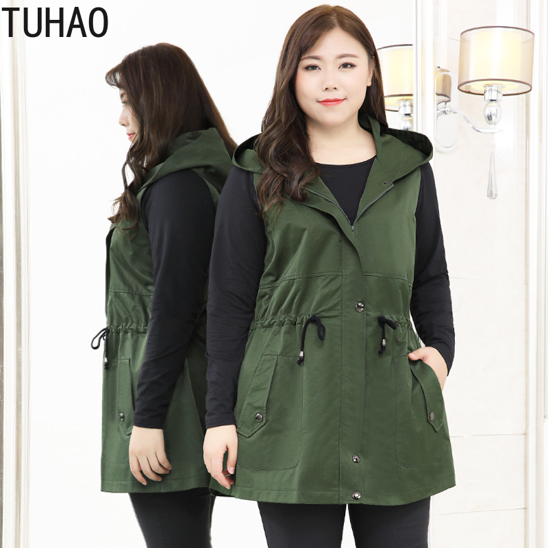 TUHAO 2020 Spring High Quality Large Size 10XL 9XL 8XL <font><b>7XL</b></font> Vest Woman Casual Office Lady Women's Safari Style Vest <font><b>Coat</b></font> WM14 image