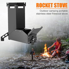 Outdoor Camp Stainless Steel Wood Stoves Hiking Rocket Stove Backpacking Picnic Camping Portable Outdoor Elements