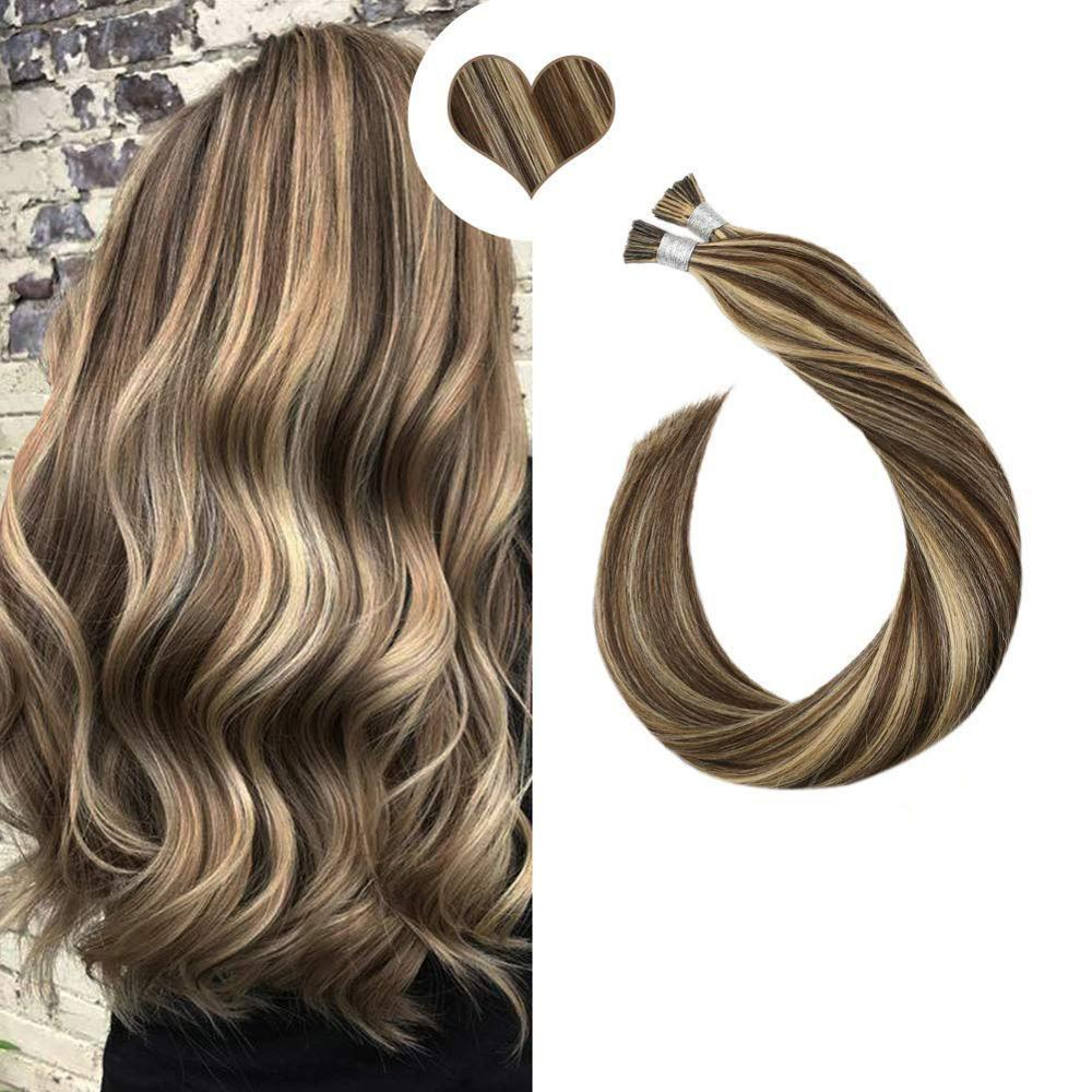 I Tip Human Hair Extension Machine Remy Keratin Fusion 0.8g/s 14-24'' Piano Color Hair Pre Bonded Extension 40G 50G Per Pack
