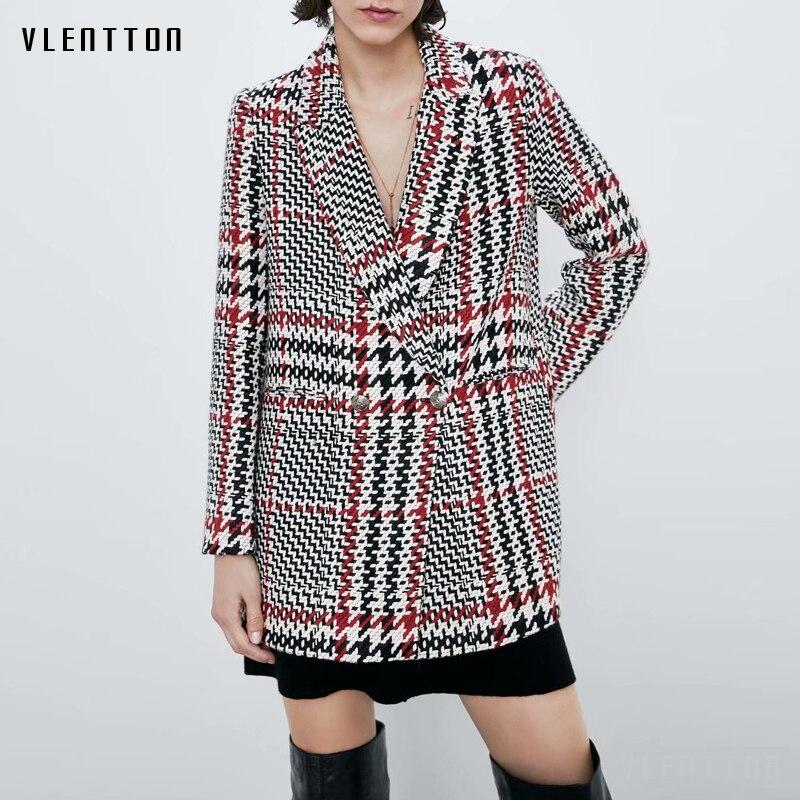 2020 Autumn Vintage Plaid Tweed Blazer Jacket Women Sexy V-Neck Suit Coat Female Outwear Chic Button Office Blazers Feminino