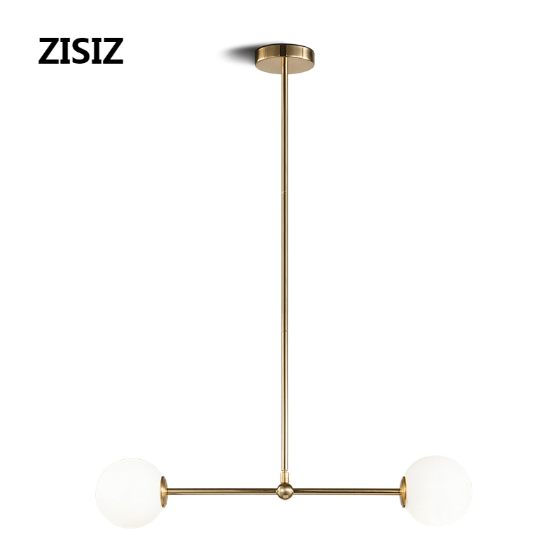 Gold G9 LED Hanglamp Nordic Simple Modern Bedroom Bedside Hanging Lamp Round Ball Glass Lampshade Molecular Chandelier Lighting