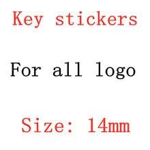 Emblème de clé télécommande de voiture 14mm, 50 pièces, autocollant de bouton Radio pour alfa o-pel M-INI c-itroen s-uzuki f-iat p-eugeot v-olvo f-or