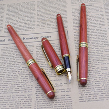 (12 Pieces/Lot) High Quality Luxury Red Wood Fountain Pen Wholesale Office Ink 0.5 mm Nib Penna stilografica Joy Corner
