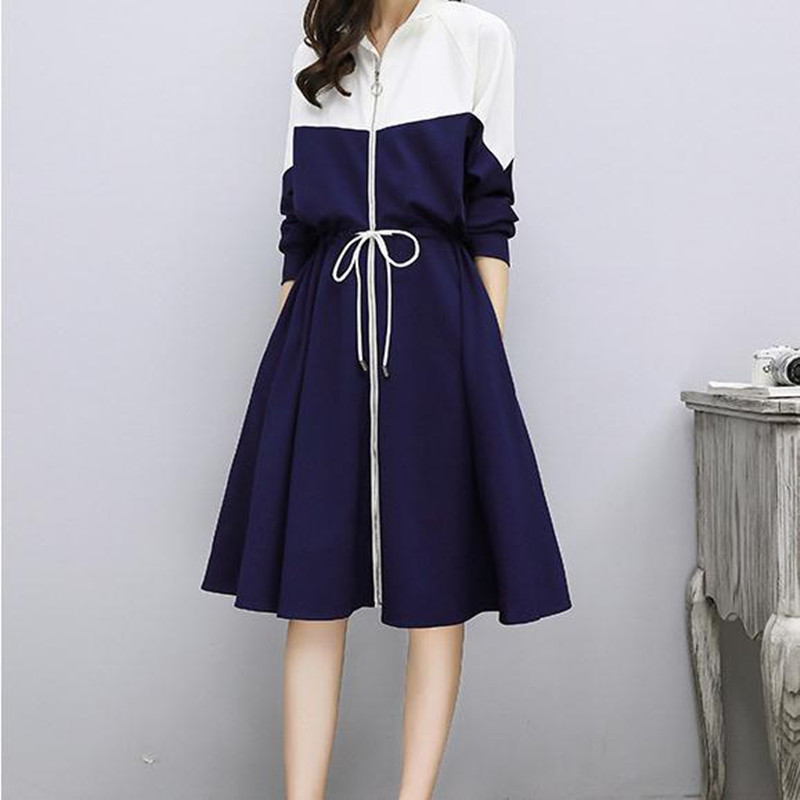 Women 39 s Wear Medium length Sports and Leisure Women 39 s Loose Large Size Spliced Long Sleeve Dresses in Dresses from Women 39 s Clothing