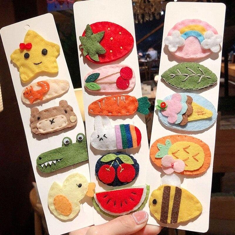 Fashion Children Kids Cartoon Hair Accessories Crocodile Animal Hairpins Watermelon Strawberry Felt Fruit Hair Clips Barrettes