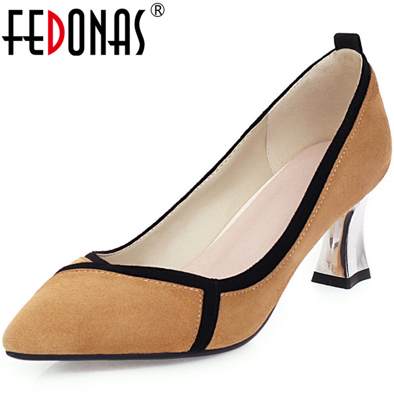 FEDONAS Brand Design Women Point Toe Pumps Heavy Metal Heeled Retro Consice Shoes Spring Summer Fashion New 2020 Shoes Woman