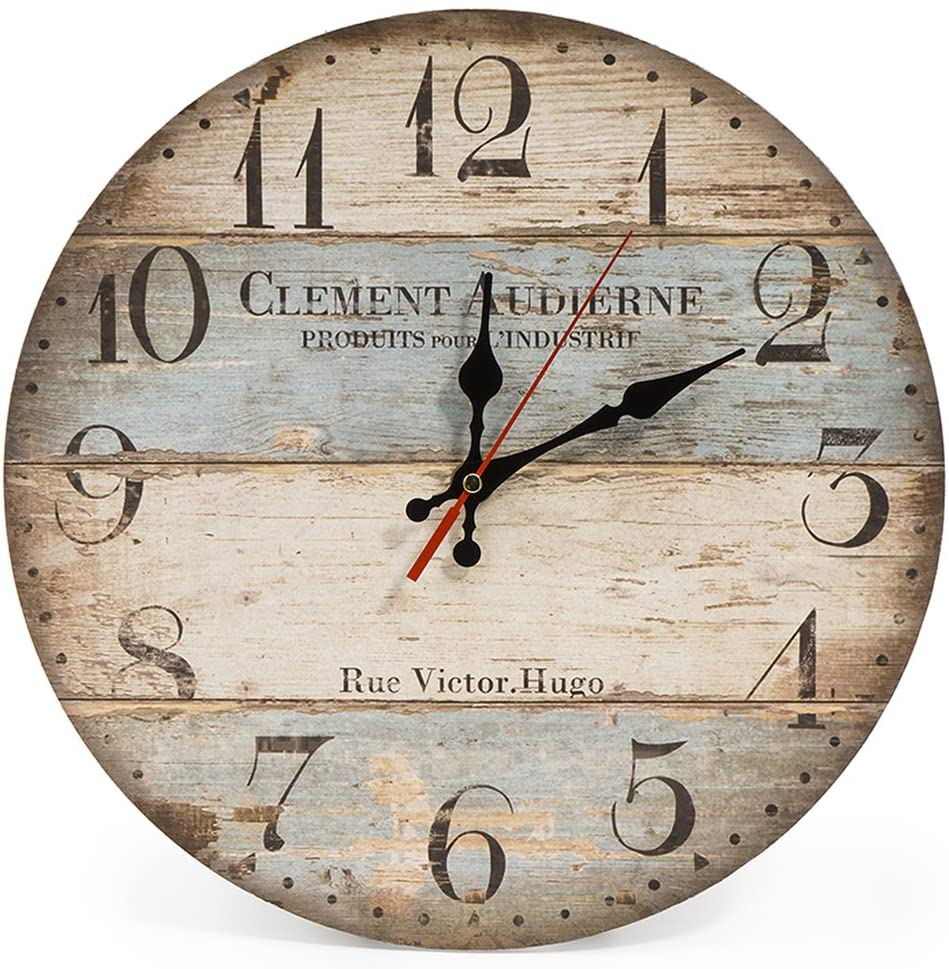 Home 12 Inch Silent Vintage Wooden Round Wall Clock Arabic Numerals Vintage Rustic Chic Decor Mechanic Wall Clock Living Room