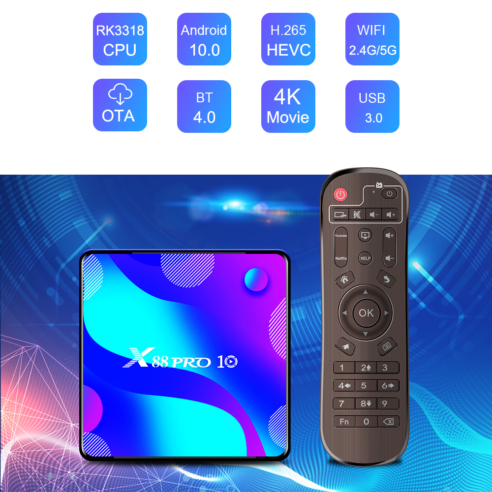 Приставка Смарт-ТВ X88 PRO 10, Android 10,0, 4K, Wi-Fi