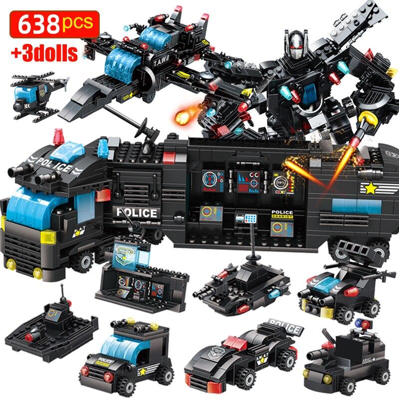 Конструктор детский «городской полицейский участок», военная команда спецназа, грузовик, робот, развивающая игрушка для мальчиков