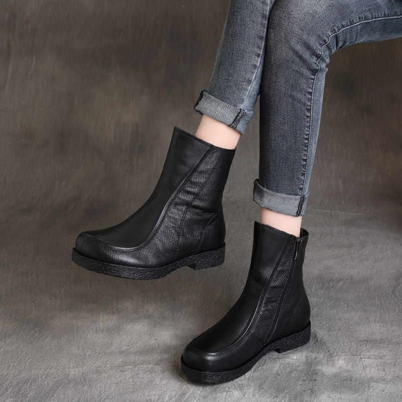Kadın deri çizmeler marka siyah düşük topuklu ayakkabılar kadın sonbahar el yapımı hakiki deri Martin çizmeler kadın Retro ayakkabı yumuşak rahat
