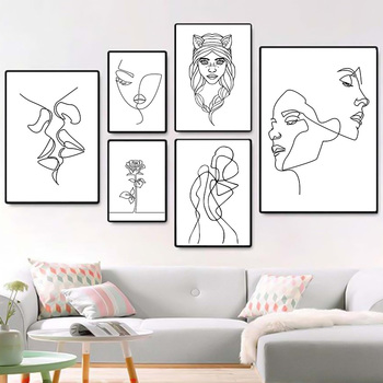 Nordic Minimalist  Figures Line Art Sexy Woman Body Nude Wall Canvas Paintings Drawing Posters Prints Decoration for Livingroom 3