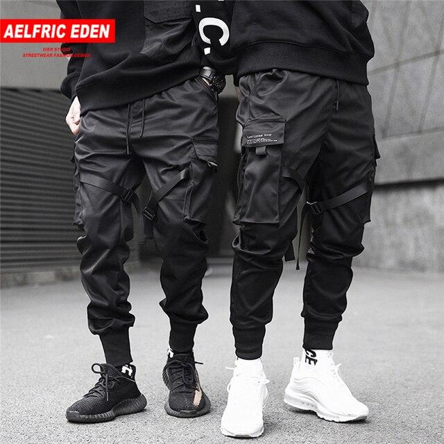 Aelfric Eden Linten Hip Hop Cargo Broek Mannen Zwart Pocket Streetwear Harajuku Techwear Broek Broek Harem Joggers Joggingbroek