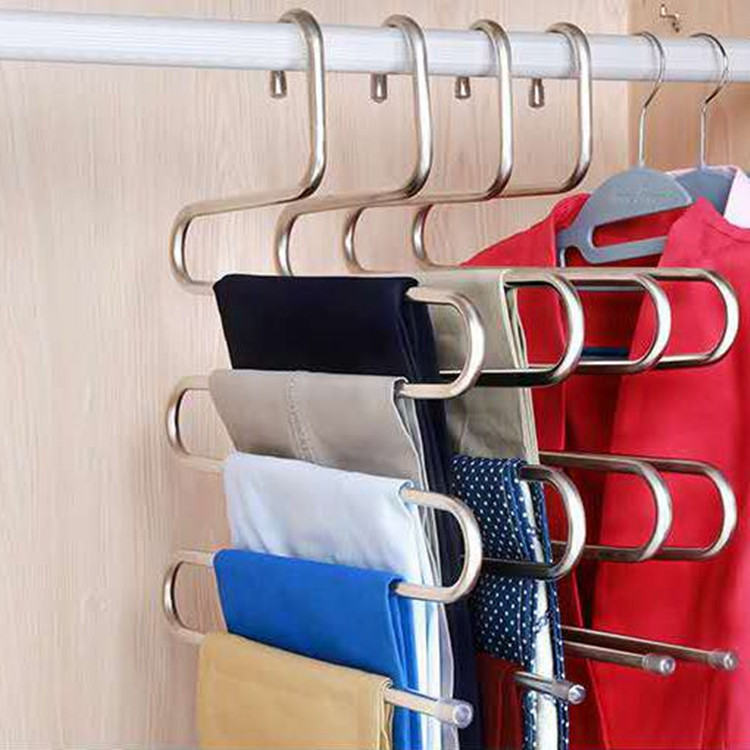 Multi-functional S-type Trouser Rack Stainless Rack Trouser Adult Hanger Traceless Multi-layer Trouser Steel