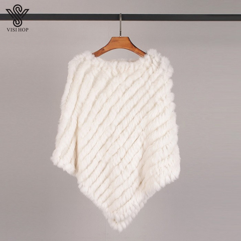 Image 3 - VISI HOP Fashion Style Womens Poncho Real Rabbit Fur Knitted Shawl Ladies Top Quality Cape VS5201Real Fur