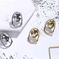 Korean Style Gold Sun Earrings for Women Irregular Studs Summer Lady Ear Jewelry
