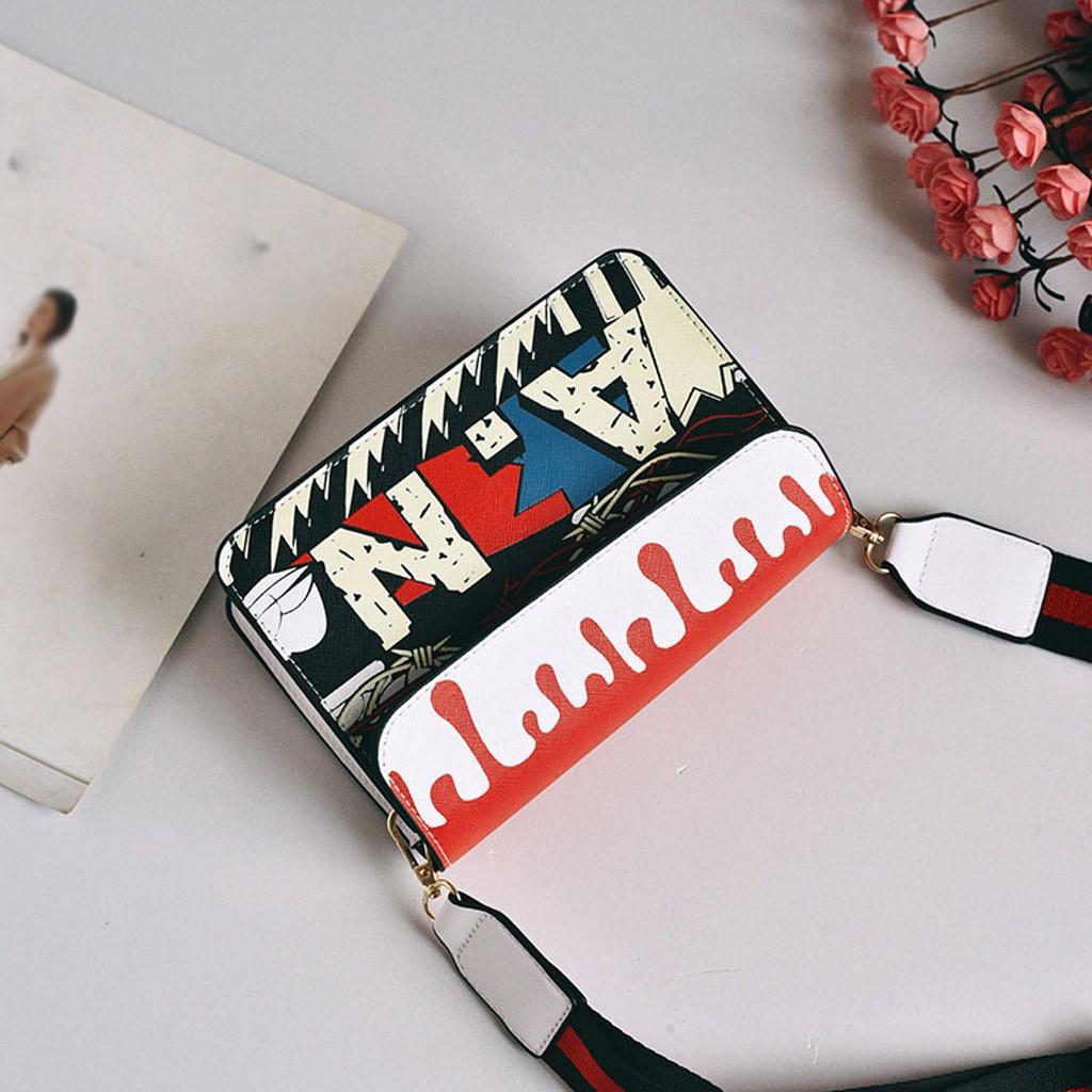 Square Bag Messenger-Bag Casual-Bags Graffiti Crossbody Printed Small Women Shoulder