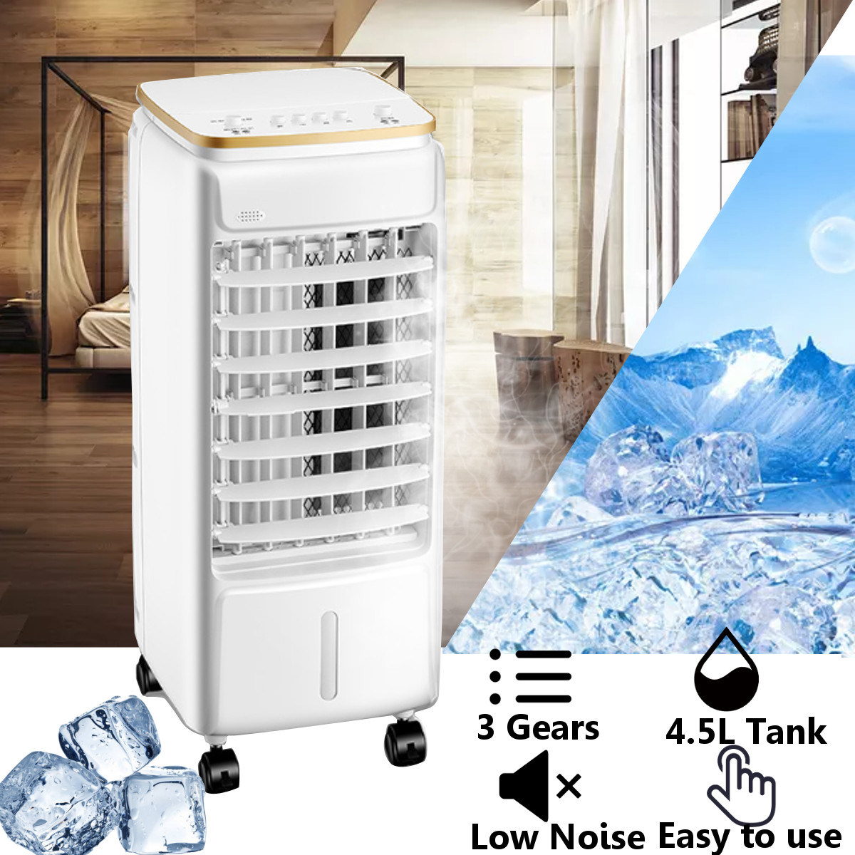 3 Gear Portable Movable Air Conditioning Cooler Fan Units Humidifier Home Office