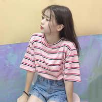 Coreano Camiseta O-pescoço Das Mulheres kawaii rosa Listrado Tops Harajuku Camiseta Verão de Manga Curta casuais Camisetas soltas camiseta feminina